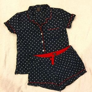 EUC J. Crew Navy, White, and Red Polka Dot Pajamas